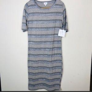 LulaRoe Julia Gray Striped Dress Large NWT